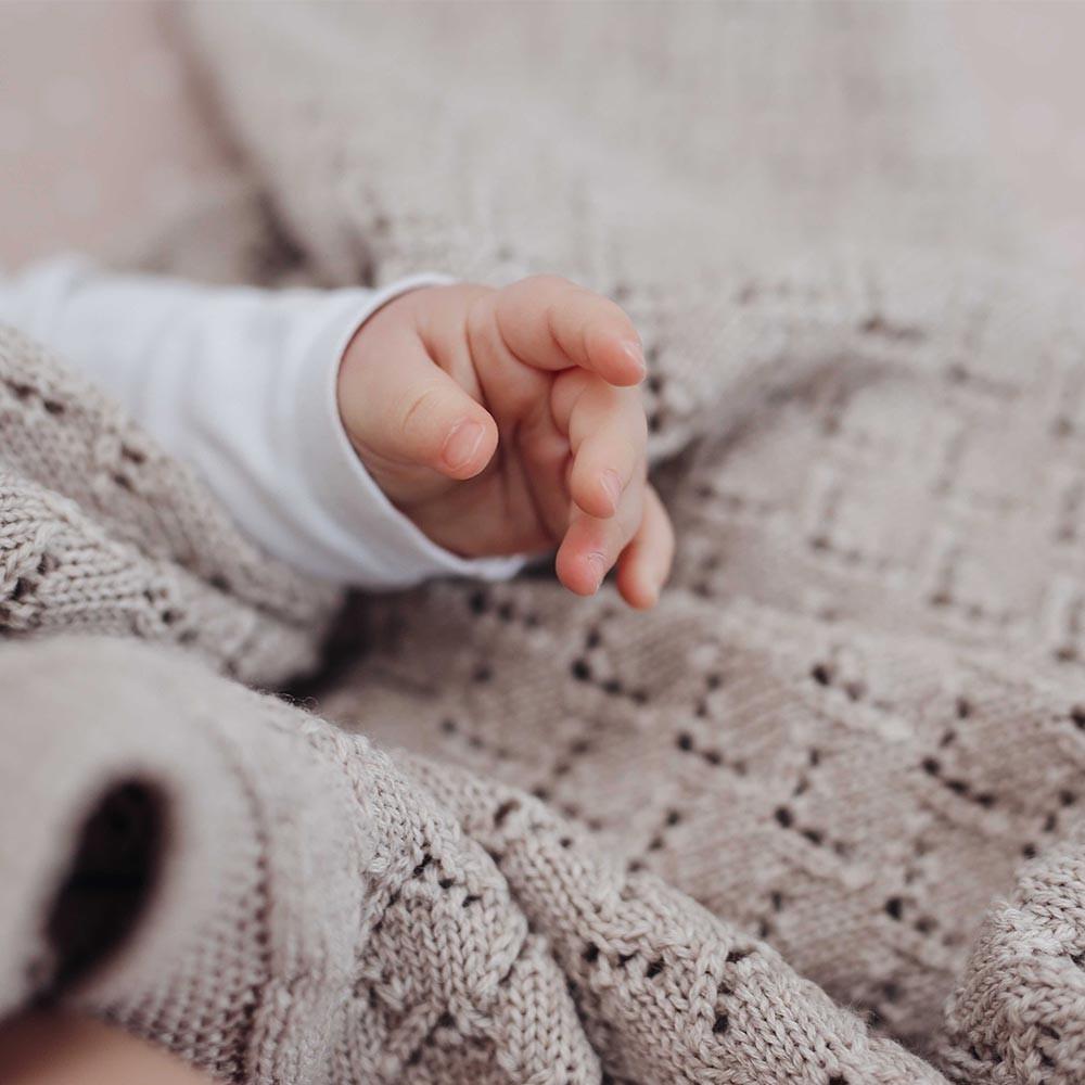 Heart baby blanket sand
