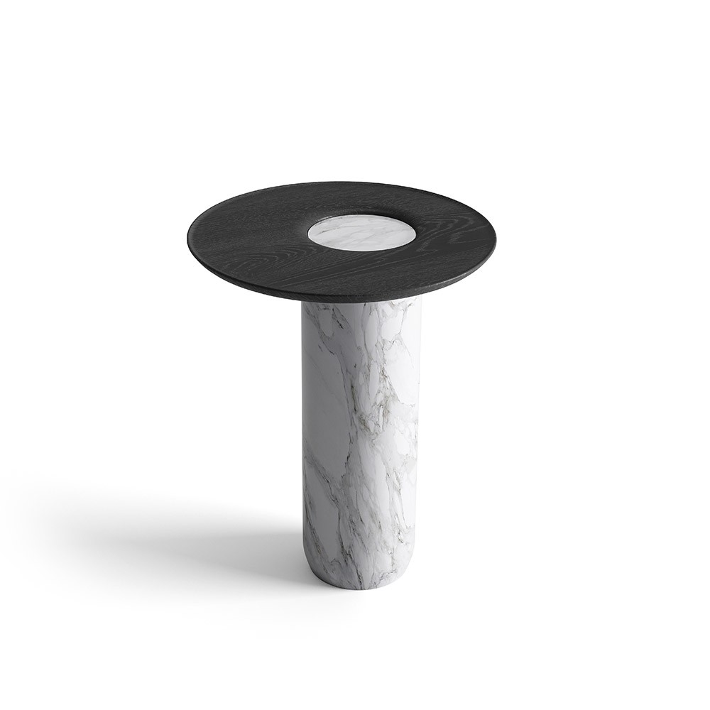 Tall side table Lago white marble