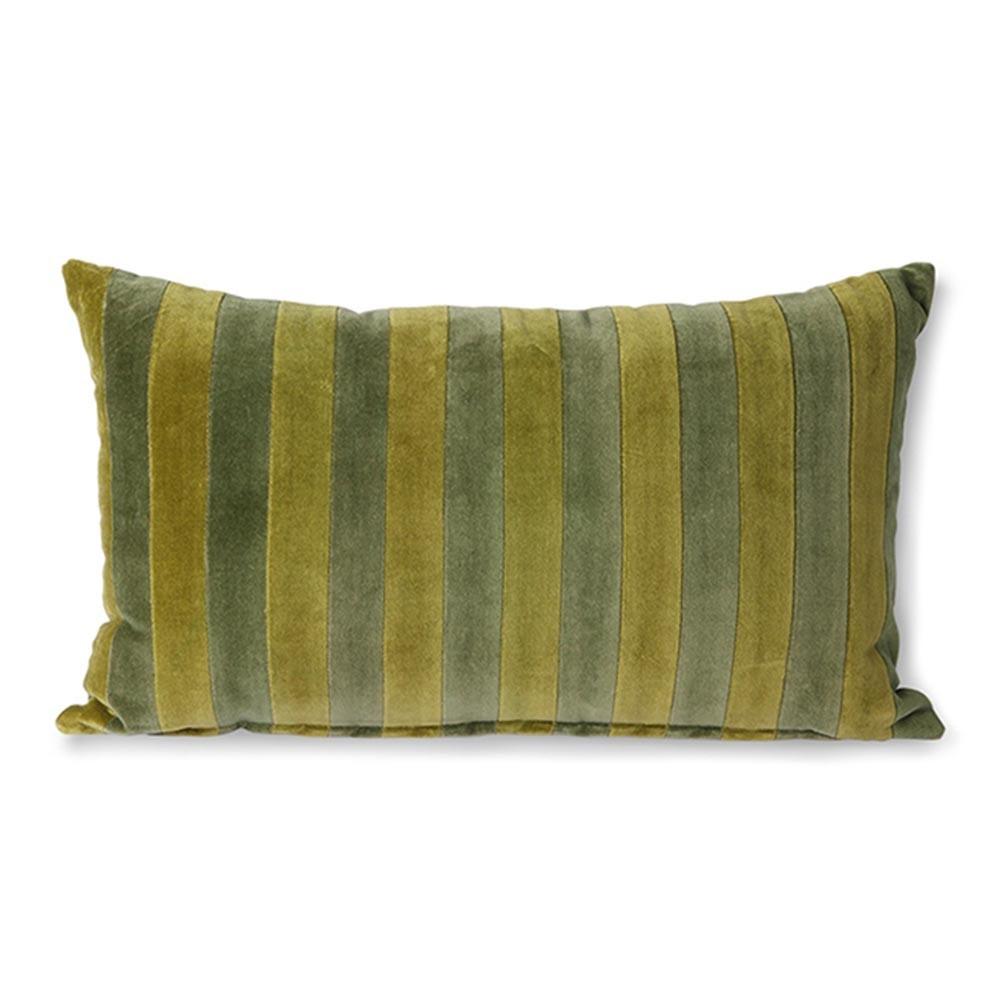 Striped velvet cushion green & camo
