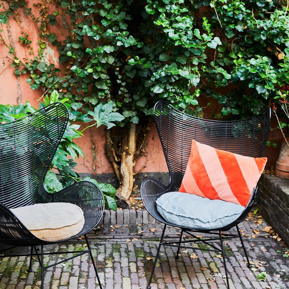 Velvet seat cushion round peach