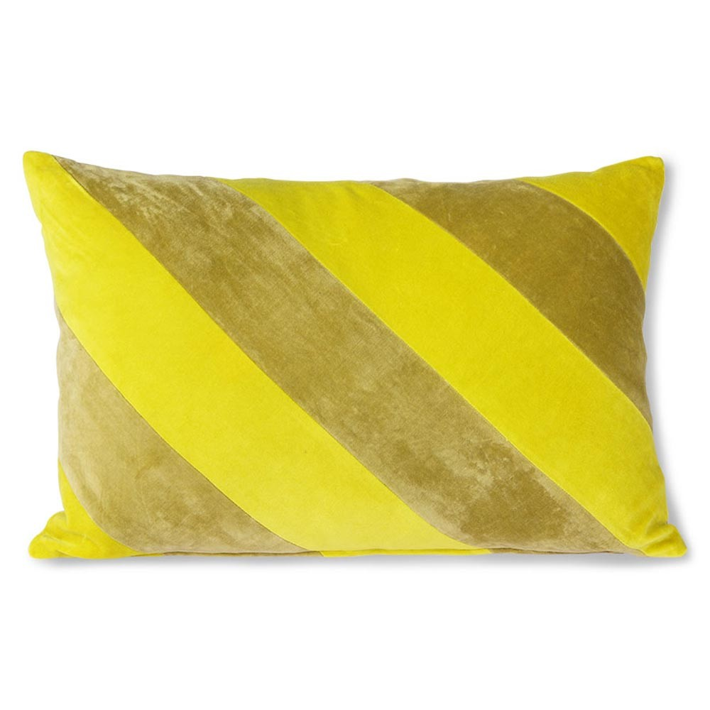 Striped velvet cushion yellow & green HKliving