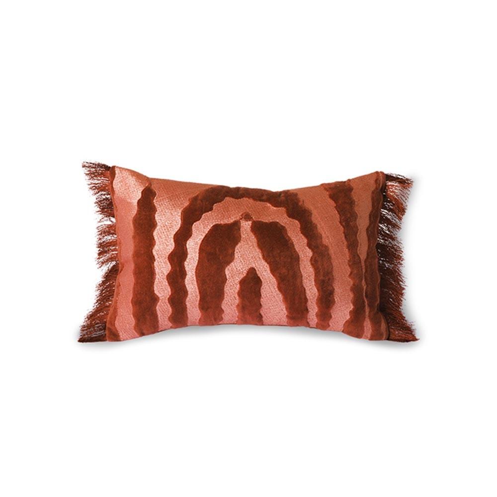 Fringed velvet Tiger cushion red HKliving