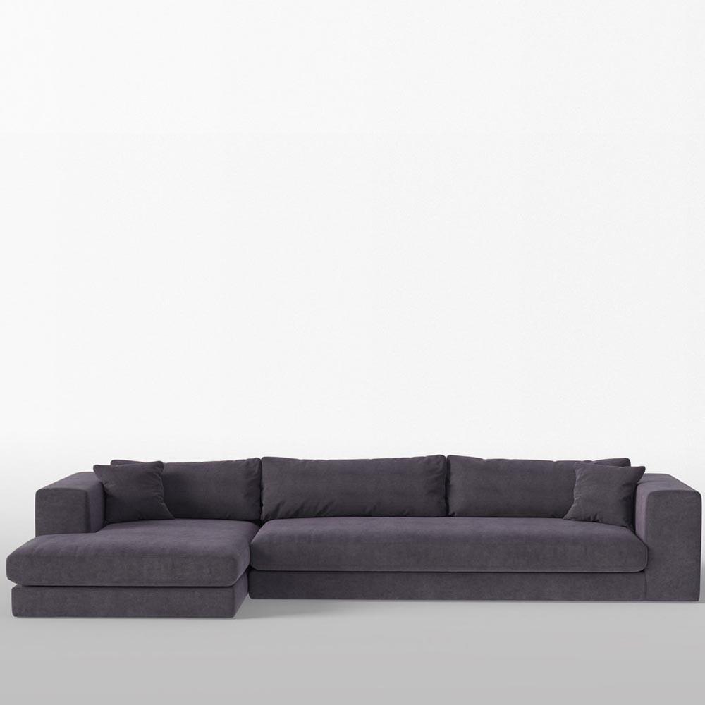 Corner sofa Bellechasse raw velevet Anthracite XL Panac
