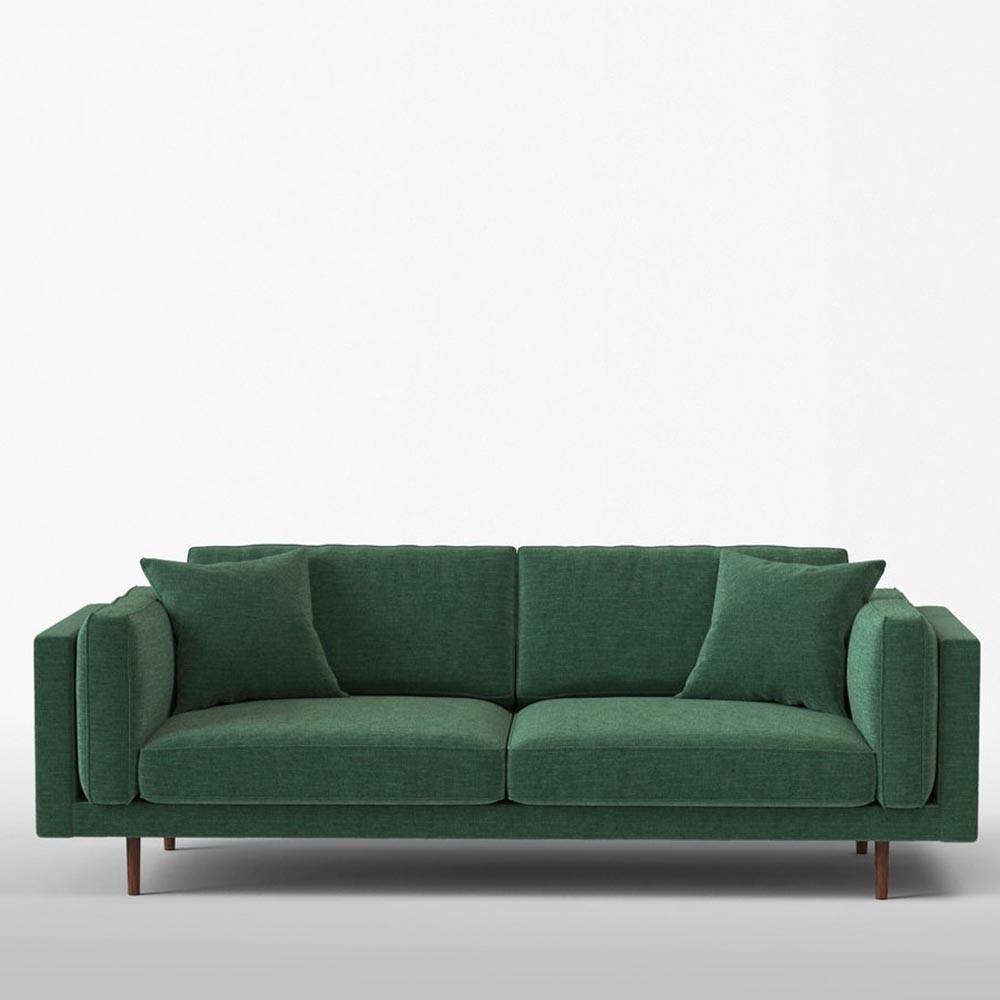 Daguerre 3-seater sofa in chenille fabrics Bottle Panac