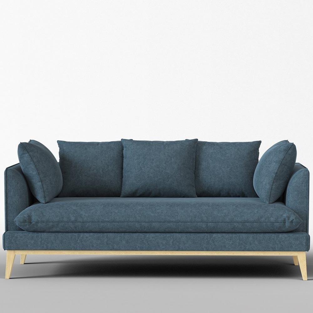 Custine 4-seater sofa in vintage cotton Navy Panac