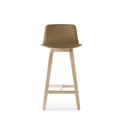 Kuskoa bar chair oak & caramel faux leather H66 cm Alki