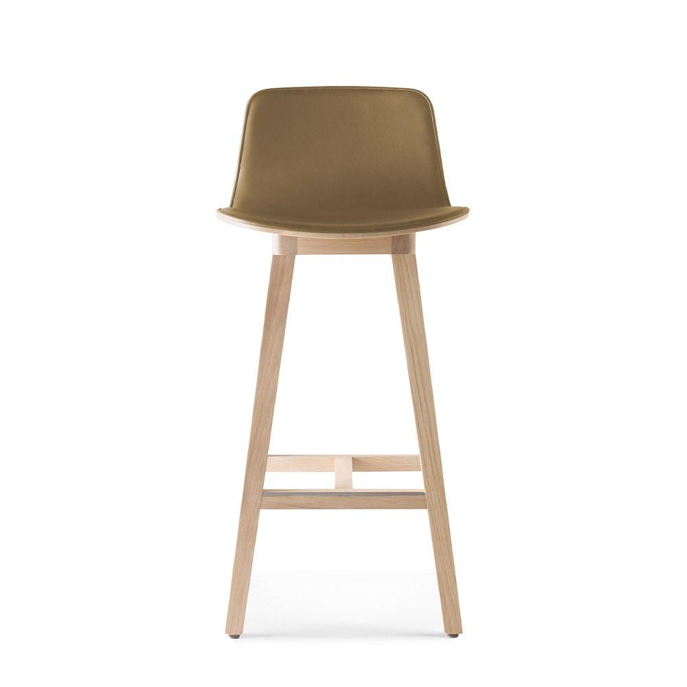 Kuskoa bar chair oak & caramel faux leather H80 cm Alki