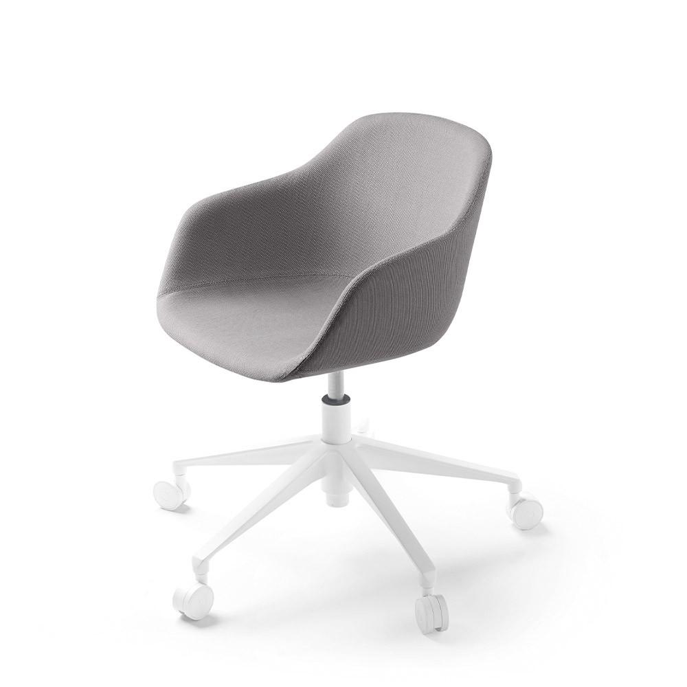 Kuskoa Bi office chair with wheels grey fabric shell Alki