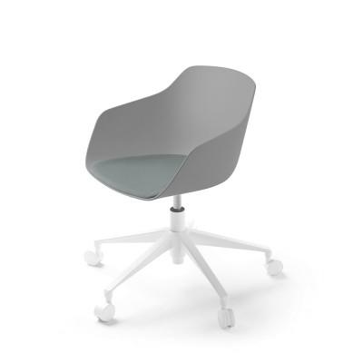 Kuskoa Bi office chair with wheels blioplastic shell clay & green Alki