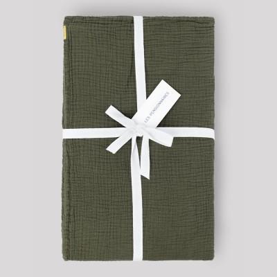 Caper green double gauze tablecloth Les Pensionnaires