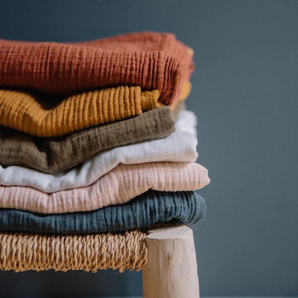 Storm blue double cotton gauze tablecloth Les Pensionnaires