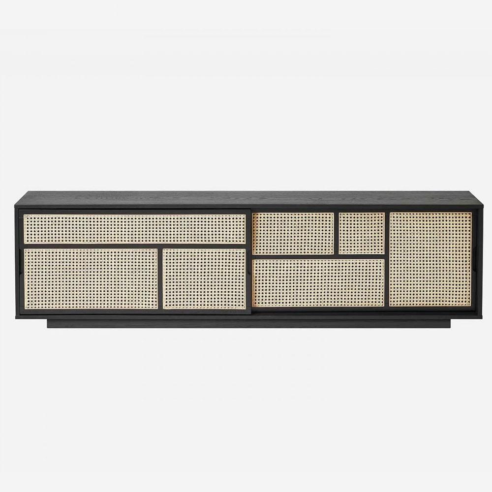 Air low dressoir zwart & riet Design House Stockholm