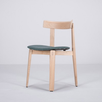 Nora chair oak & dark green fabric Gazzda