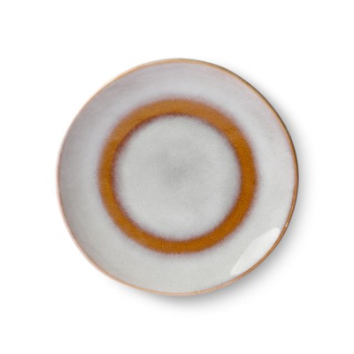Ceramic 70's dessert plate snow Ø17,5 cm