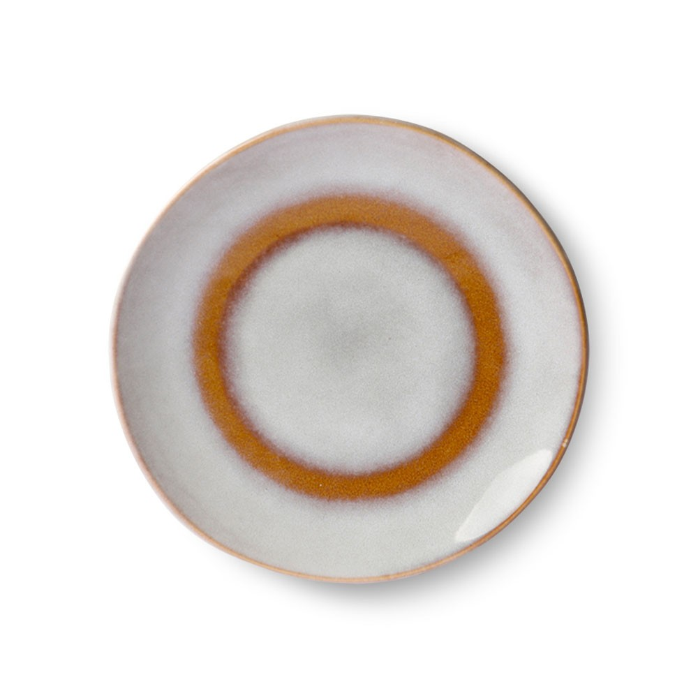 Ceramic 70's dessert plate snow Ø17,5 cm HKliving
