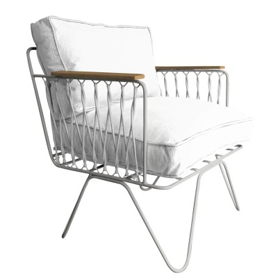 Honoré white cotton Croisette armchair