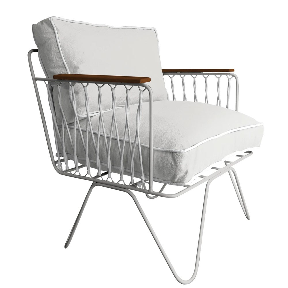 Honoré white cotton Croisette armchair