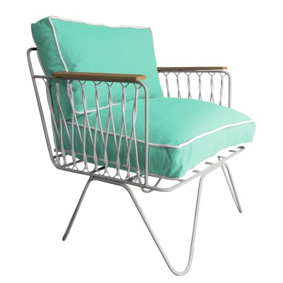 Honoré sea green cotton Croisette armchair