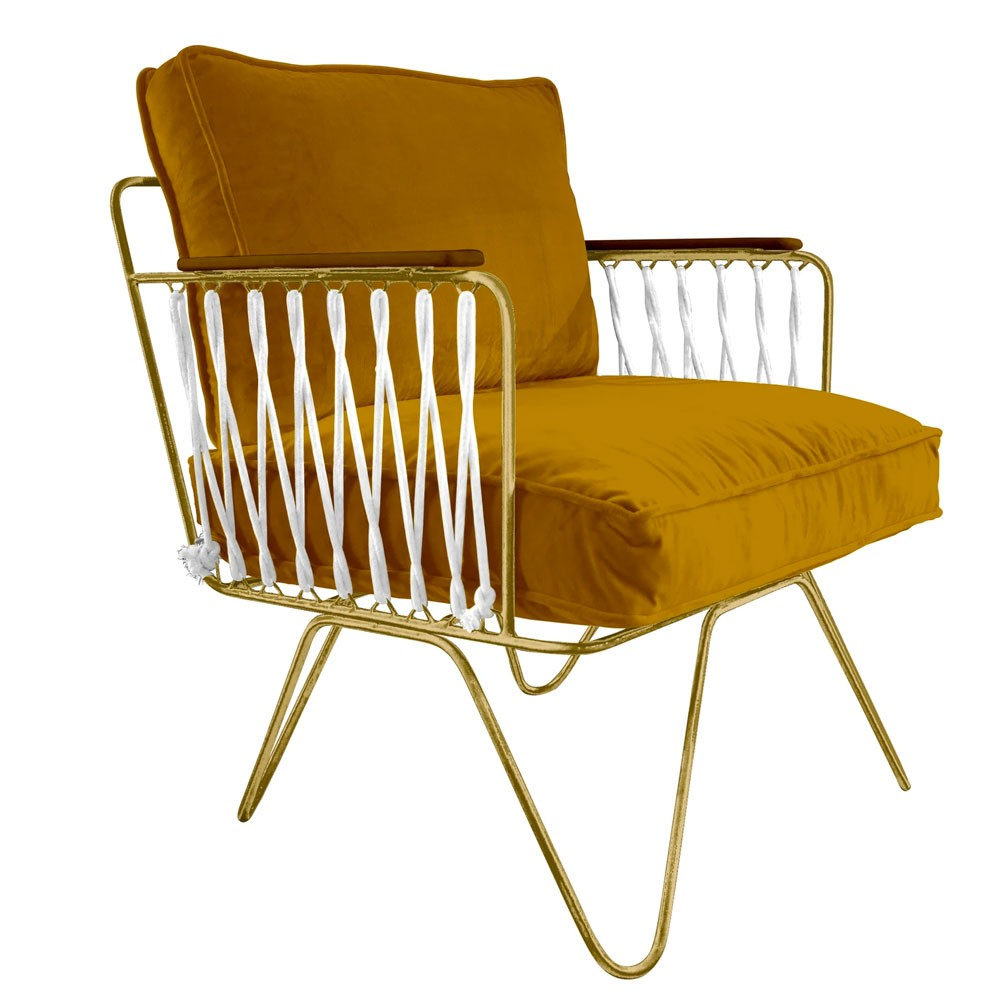 Honoré camel velvet Croisette armchair