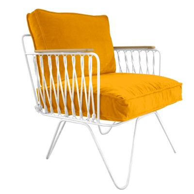 Honoré yellow velvet Croisette armchair