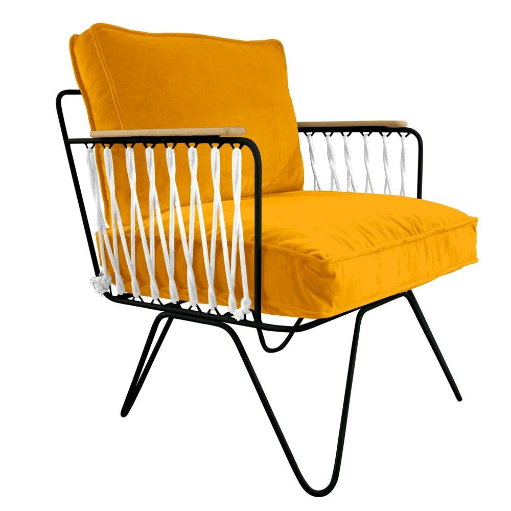 Fauteuil Croisette van geel velours Honoré