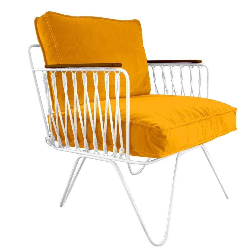 Honoré yellow velvet Croisette armchair