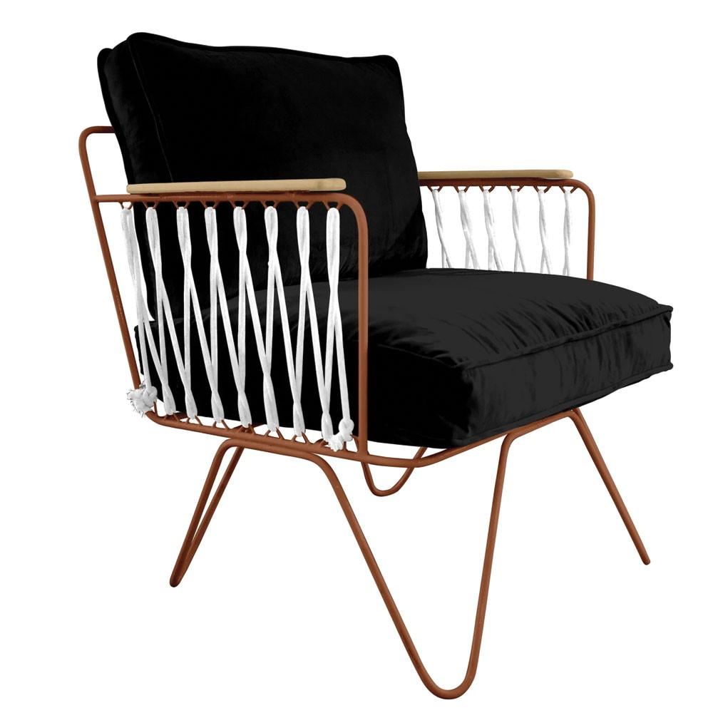 Honoré black velvet Croisette armchair