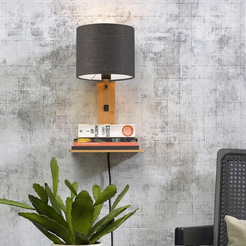Andes natural & dark gray shelf wall light Good & Mojo