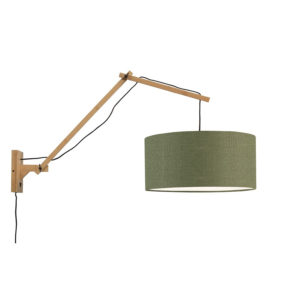 Wall lamp Andes natural & forest green L Good & Mojo