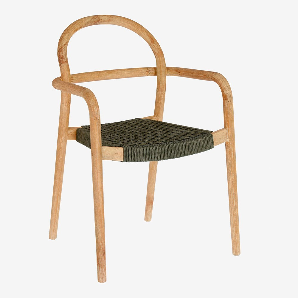 Green Sheryl chair with terracotta wood Kave Home