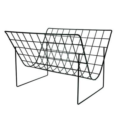 Matte black wire magazine rack