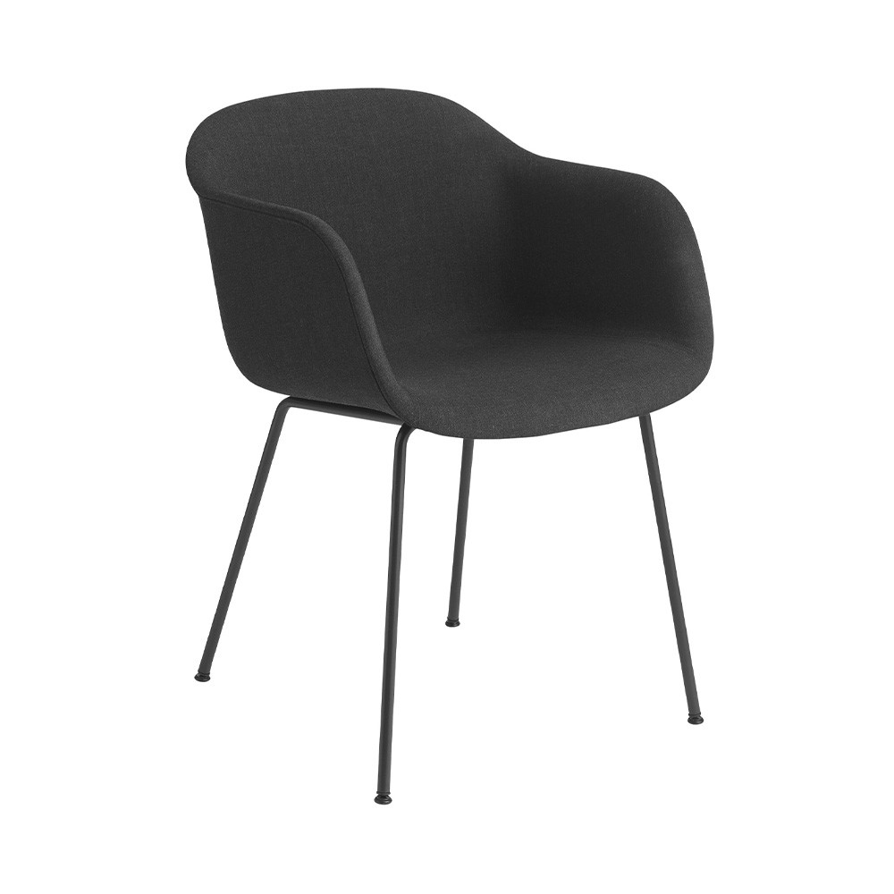 Chair with Remix 183 black fabric fiber armrests & steel base Muuto