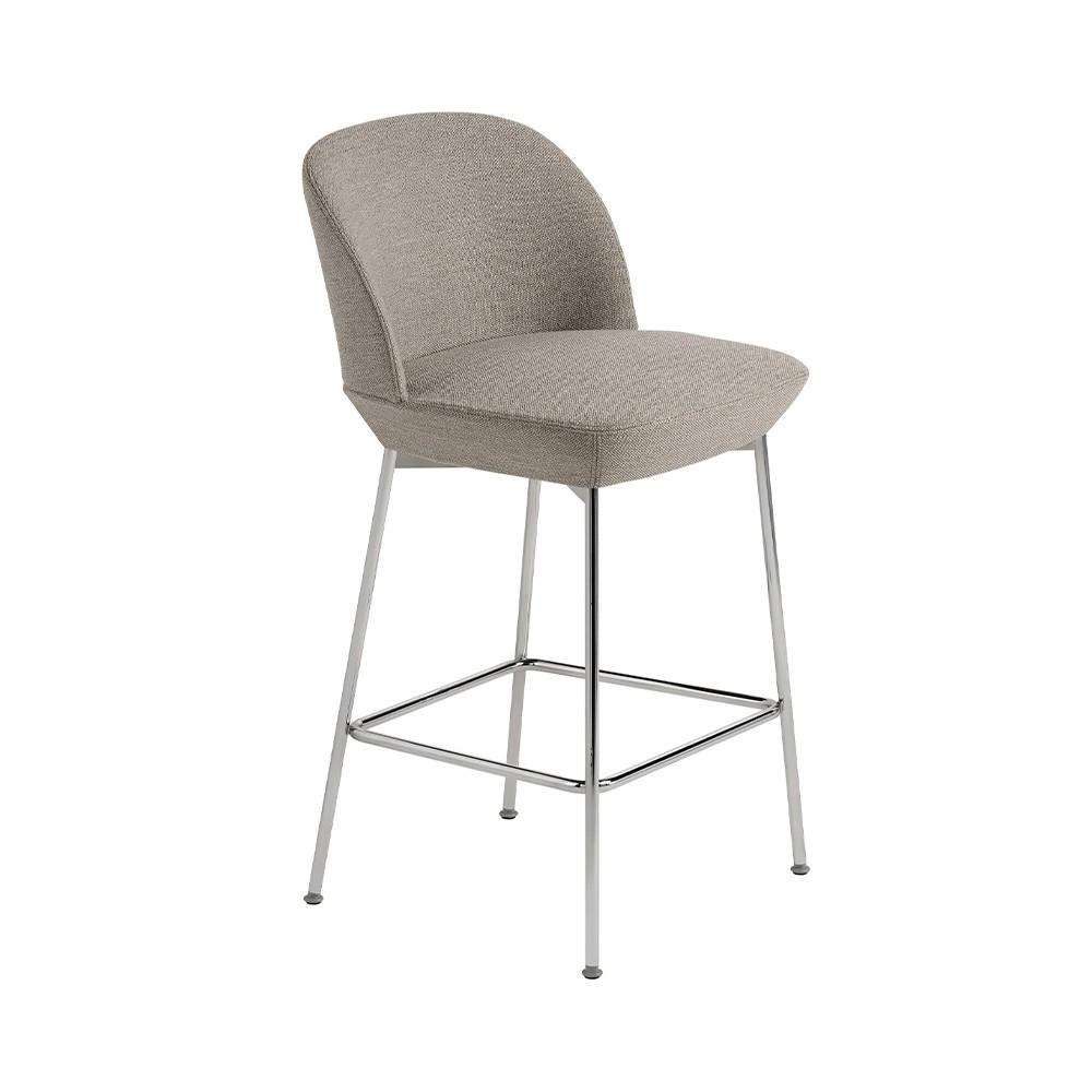 Oslo stool beige fabric Ocean 32 and chrome base H93.5 cm Muuto