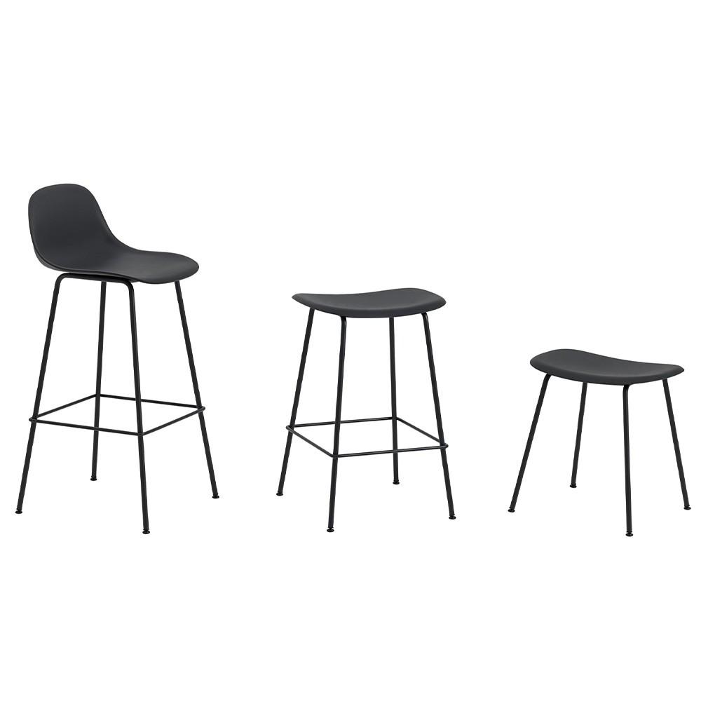 Fiber composite wood and black plastic stool & steel base H66 cm Muuto