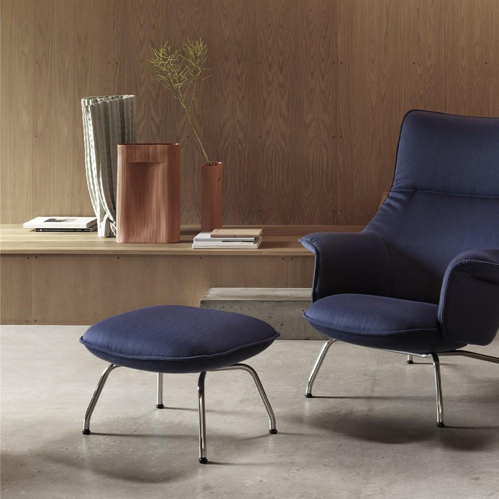 Doze footstool in Balder 782 navy blue fabric Muuto