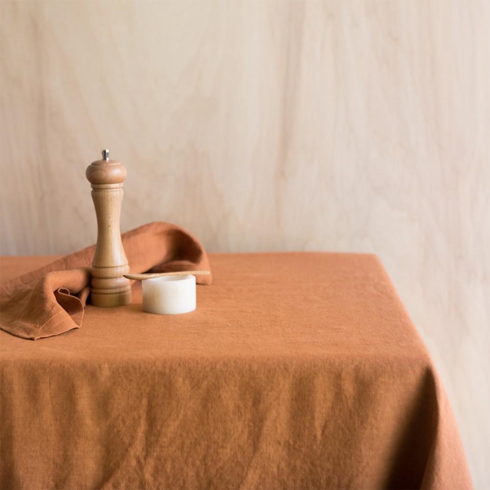 Caramel washed linen tablecloth Gabrielle Paris