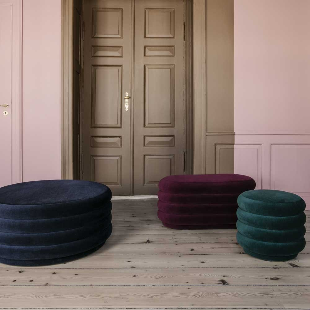 Oval pouf M dark blue Ferm Living