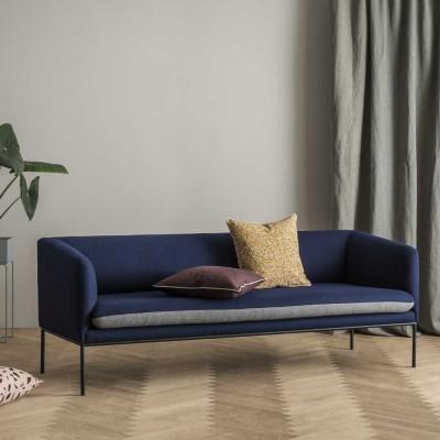 Turn divano in lana blu e grigio chiaro