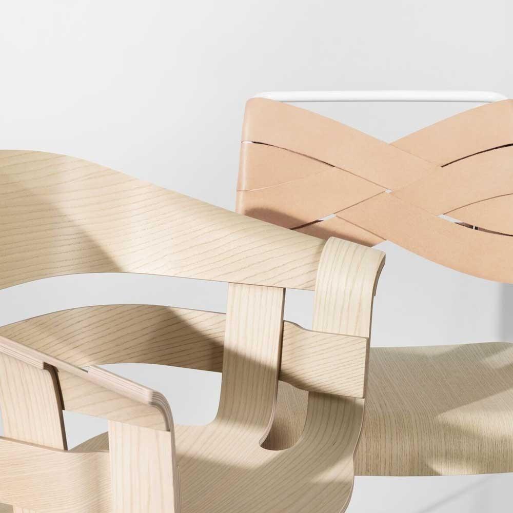 Sedia torso frassino e pelle naturale Design House Stockholm