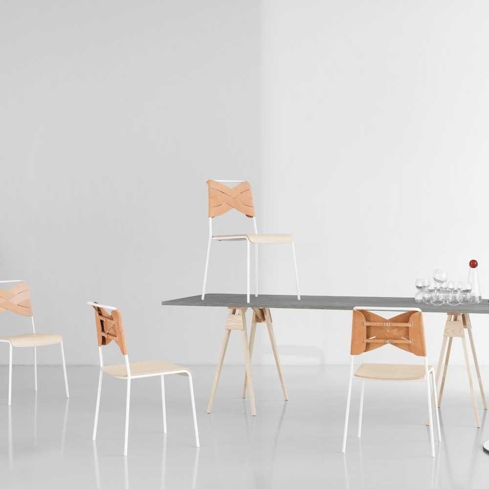Chaise Torso chêne & cuir naturel Design House Stockholm