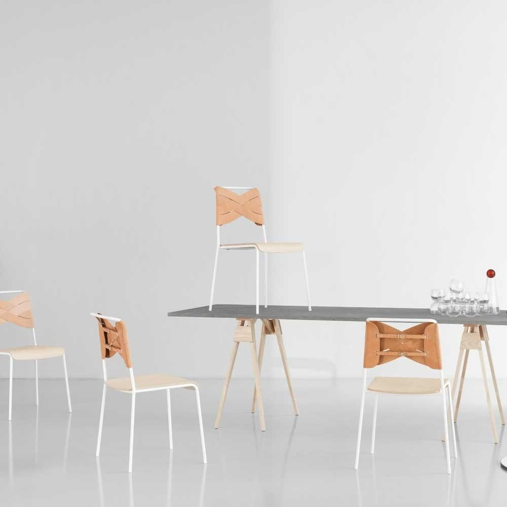 Sedia torso rovere e pelle naturale Design House Stockholm