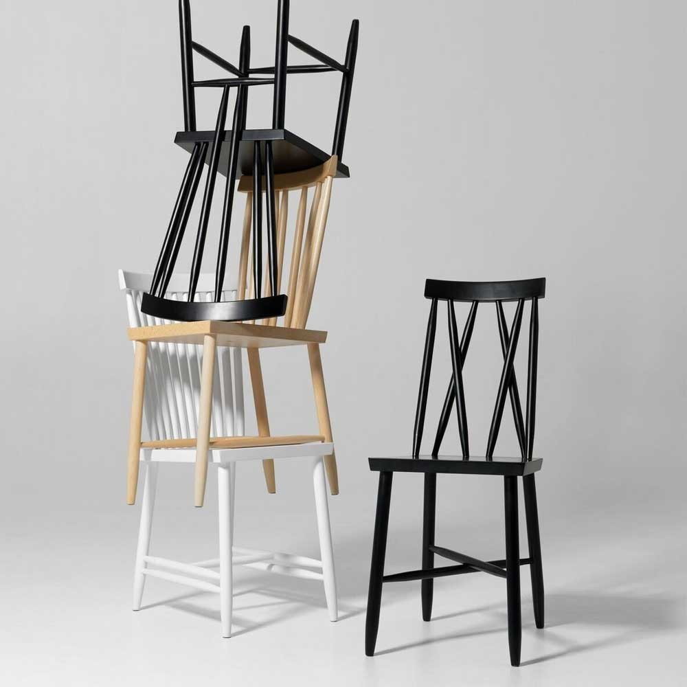 Family chair n ° 3 nero (set di 2) Design House Stockholm