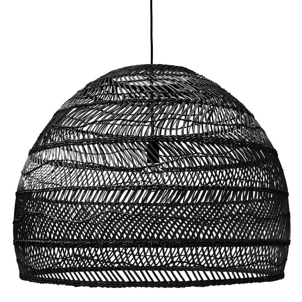Wicker hanging lamp ball black L HKliving