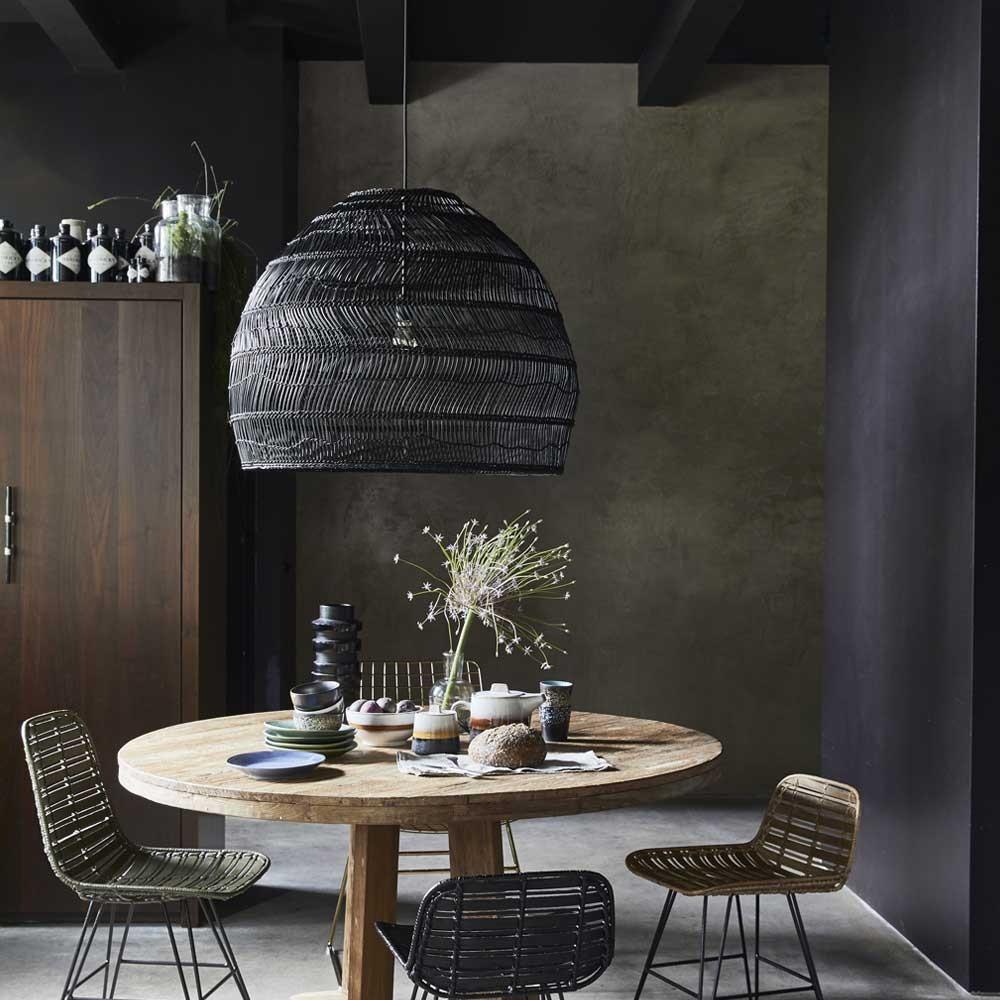 Wicker hanging lamp ball black M HKliving