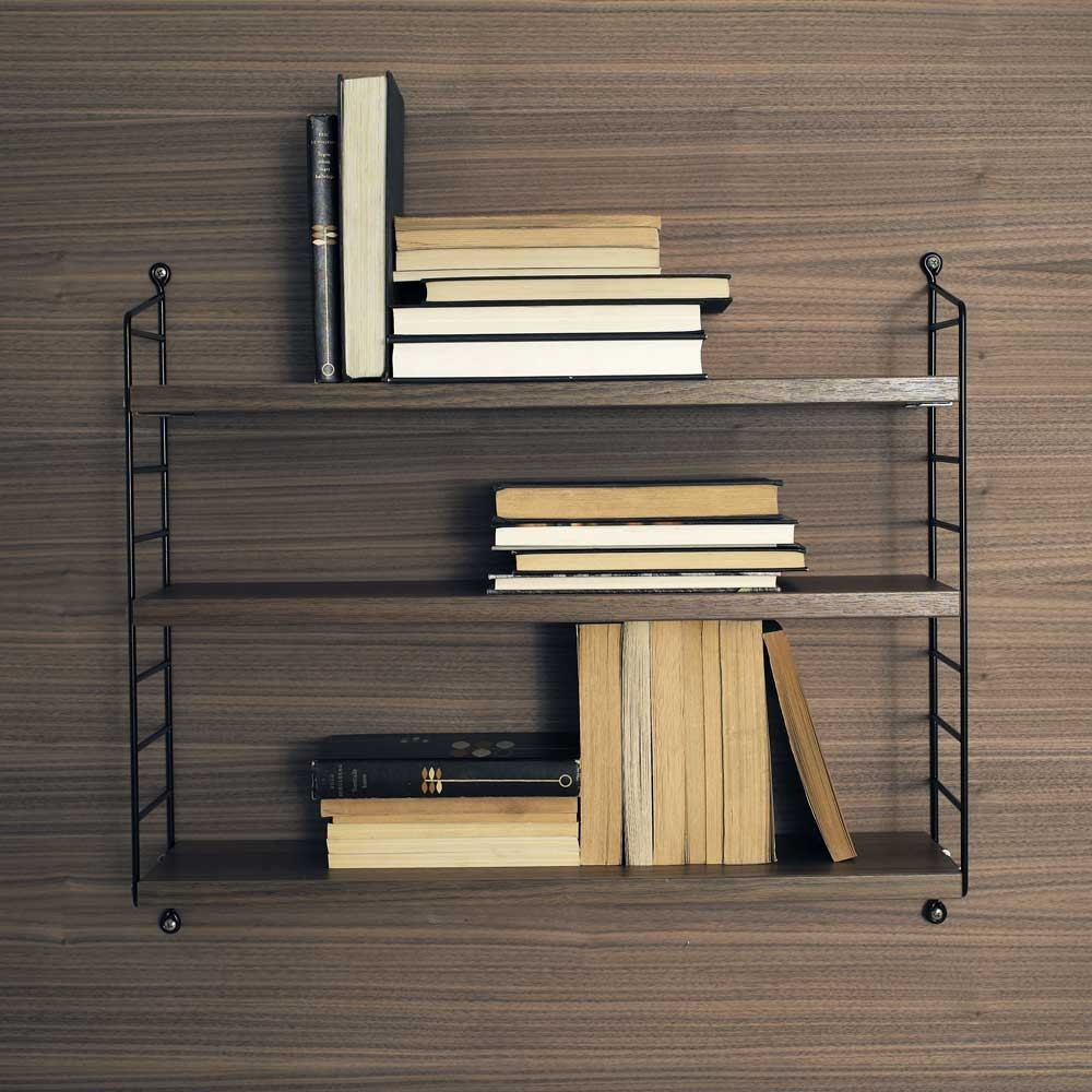 String pocket shelf walnut & black String