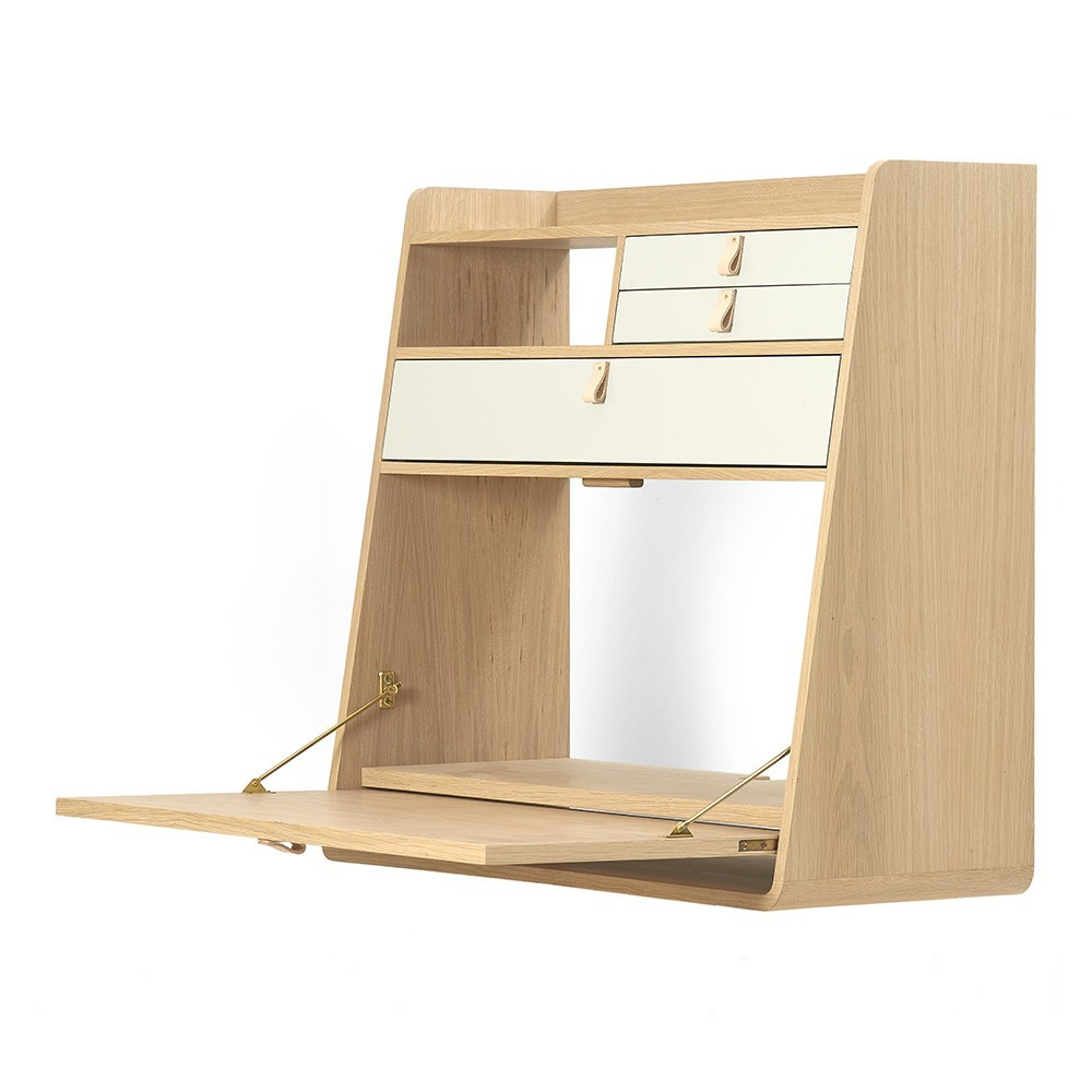 Wall writing desk Gaston 80 cm oak - brass & blue petrol Hartô
