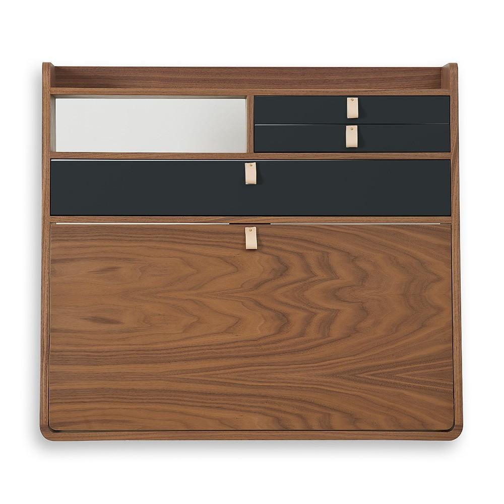Wall writing desk Gaston 80 cm walnut - brass & blue petrol Hartô