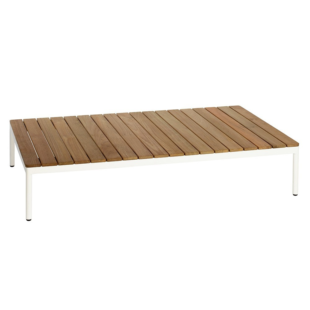 Tavolino rettangolare Riad in teak bianco Oasiq