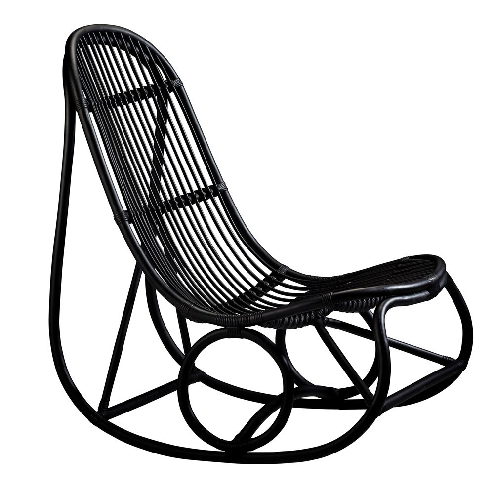 Rocking chair Nanny noir poli Sika-Design