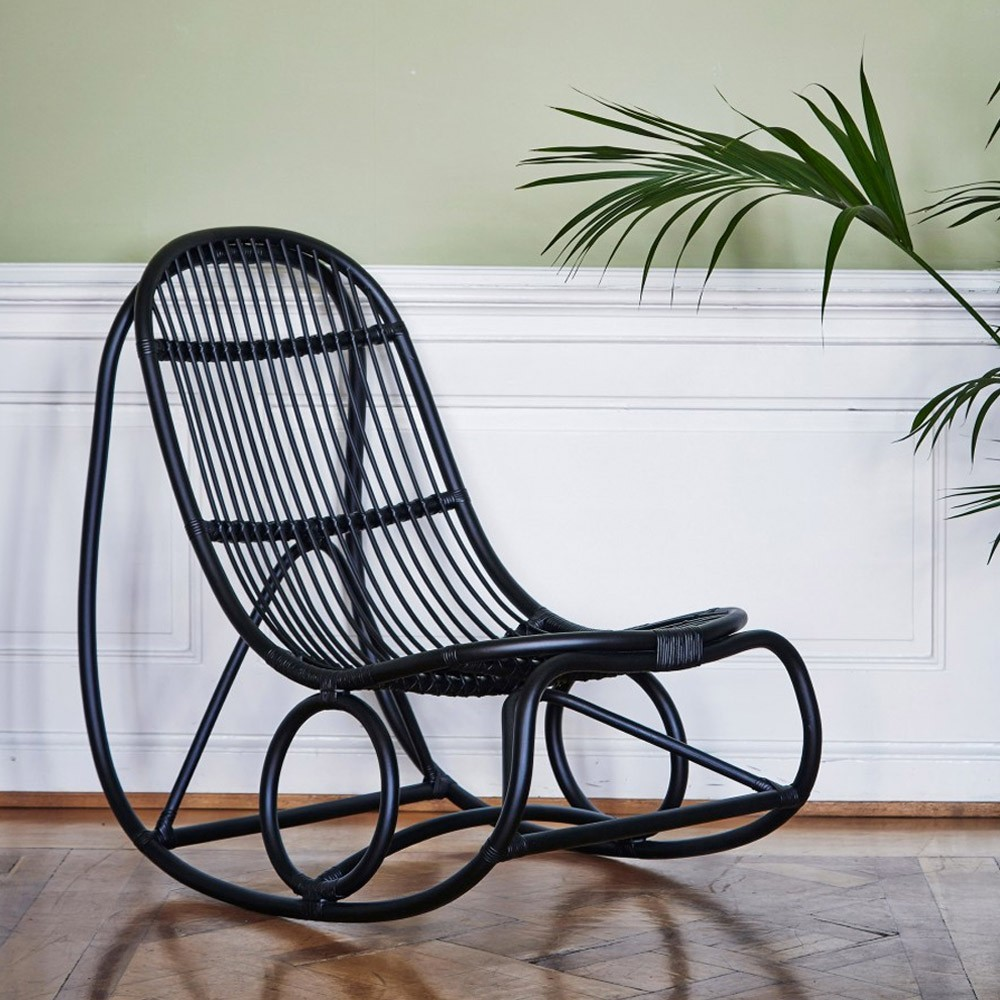 Nanny rocking chair polished black Sika-Design